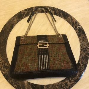 FENDI Leather/Canvas Studded Maxi Chain Baguette